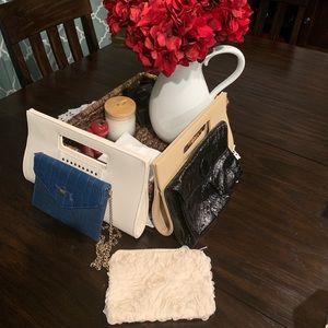 5 Clutch Bundle- Blue, Cream, Tan and black